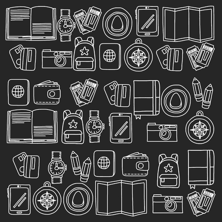 Illustration pour Vector pattern with travel icons. Get ready for adventures and travel. Hot air balloon, suitcase, airplane. Great vacation, holidays. - image libre de droit