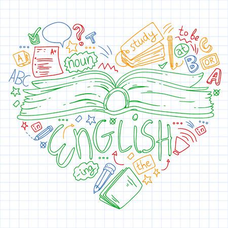 Illustration pour Language school for adult, kids. English courses class - image libre de droit