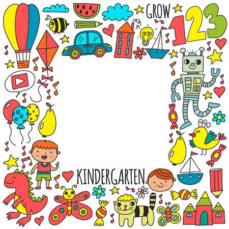 Illustration pour Kindergarten preschool school children. Kids drawing style vector pattern. Play grow learn together. - image libre de droit