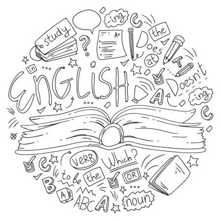 Illustration pour Language school for adult and kids. Pattern with icons about english learning. - image libre de droit