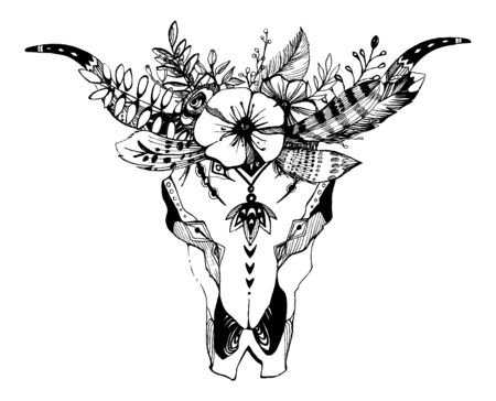 Illustration pour Cow, buffalo, bull skull in tribal style with flowers. Bohemian, boho vector illustration. Wild and free ethnic gypsy symbol. - image libre de droit