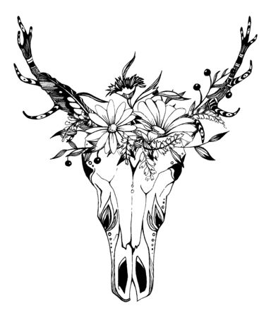 Foto per Cow, buffalo, bull skull in tribal style with flowers. Bohemian, boho vector illustration. Wild and free ethnic gypsy symbol. - Immagine Royalty Free