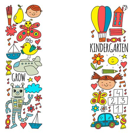 Illustration pour Vector pattern for kindergarten banners, posters with moon, planet, spaceship, rocket, sun, fruits, house, flowers. Creativity and imagination. - image libre de droit