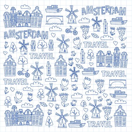 Illustration for Vector pattern with Holland, Netherlands, Amsterdam icons. Doodle style - Royalty Free Image