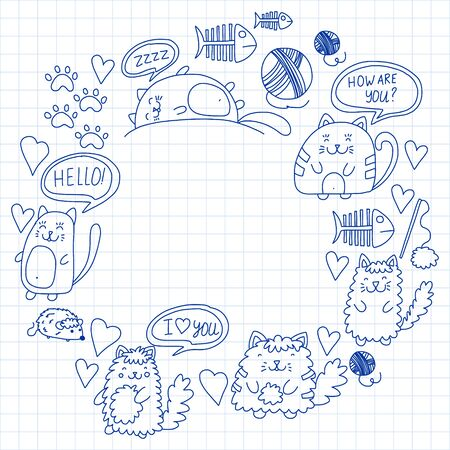 Illustration for Vector pattern with cute little cats and kittens for children. - Royalty Free Image