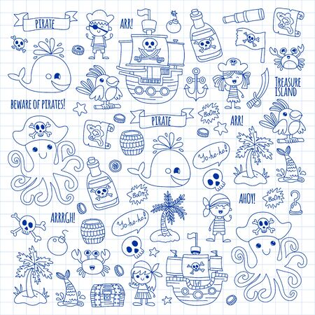 Illustration for Vector pattern with pirate icons. Adventure, birthday party. - Royalty Free Image