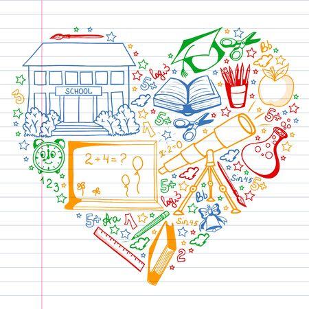 Illustration pour Vector pattern with little children. Back to school. Geography, geometry, mathematics physics - image libre de droit