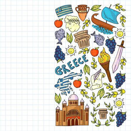 Travel to Greece elements. Greece symbols for magazines, web, tourism
