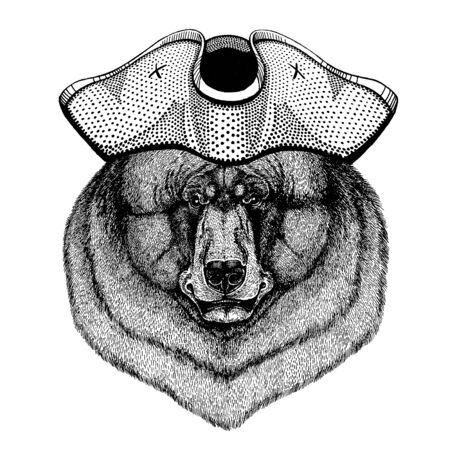 Illustration for Black bear wearing pirate tricorn hat. Capitan costume. - Royalty Free Image