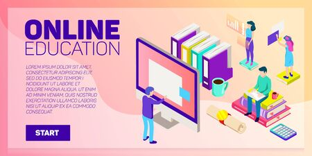 Isometric Online Education Vector Banner E Learning Imagination Ad Creativity Royalty Free Vector Graphics