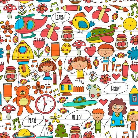 Illustration for Vector icons and elements. Kindergarten, toys. Little children play, learn, grow together. - Royalty Free Image