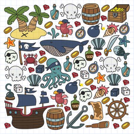 Illustration pour Children pirate party. Symbols of piracy - hat, swords, guns, treasure chest, ship, black flag, jolly roger emblem, skull and crossbones, compass. - image libre de droit