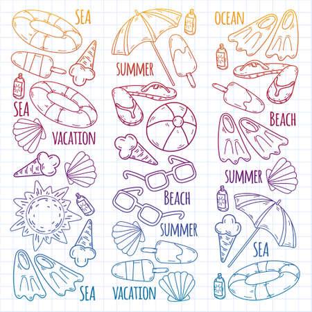 Illustration pour Summer, travel. Sea, ocean, beach. Vector pattern. - image libre de droit