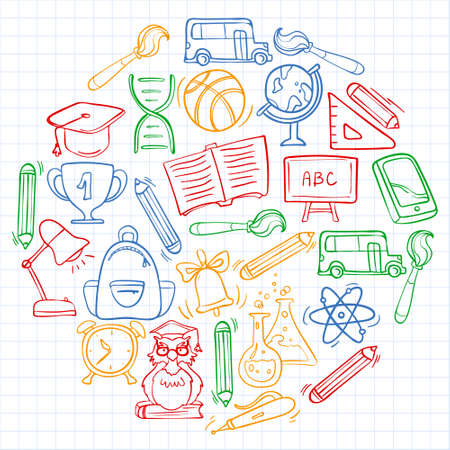 Illustration for Vector doodle icons and pattern for back to school posters and banners - Royalty Free Image