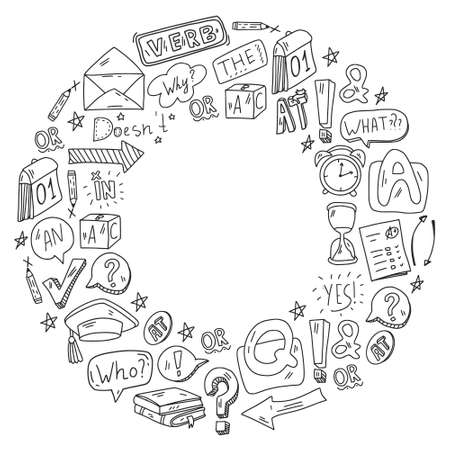 Illustration for Doodle vector pattern. Illustration of learning English language. E-learning, online education in internet. - Royalty Free Image