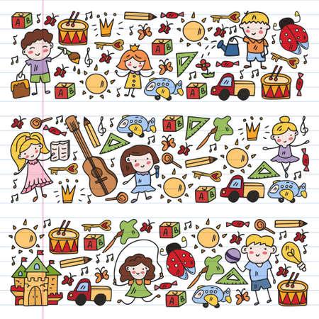 Illustration for Vector pattern with little children. Kindergarten. Imagination. Creativity. Play. - Royalty Free Image