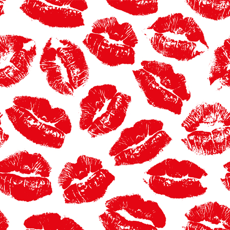 Ilustración de Vector seamless pattern with imprint kiss red lips - Imagen libre de derechos