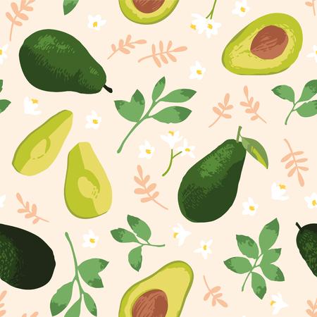 Foto de Vector summer pattern with avocado, flowers and leaves. Seamless texture design. - Imagen libre de derechos