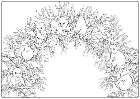 Illustration pour Koala and eucalyptus. Coloring page for the adult coloring book. Outline hand drawing vector illustration.. - image libre de droit