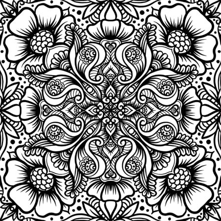 Illustration pour Eastern ethnic motif, traditional indian henna ornament. Seamless pattern, background in black and white colors. Outline vector illustration. - image libre de droit