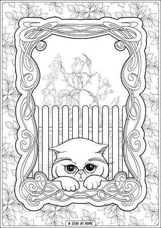 Illustration for Cute cat in front of a window and slogan, tag stay at home. Coloring page for the adult and kids coloring book. Outline hand drawing vector illustration.. - Royalty Free Image