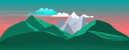 Illustration pour The landscape of mountains and sunset with beautiful clouds. Vector illustration - image libre de droit