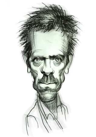 Hand-draw caricature from Hugh Laurie (Dr.House)