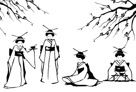 Geisha and sakura  Vector illustration