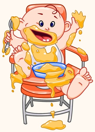 Baby eats.