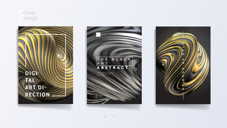 Illustration pour Abstract cover template set with 3d silver and gold twisted shape, can be used for jewelry catalog, luxury bijouterie and royal necklace. Vector illustration - image libre de droit