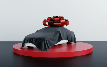 Foto de Car covered by black fabric with gift bow-knot. 3d render - Imagen libre de derechos