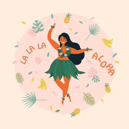 Hawaiian girl is dancing. Aloha la la la text. Greeting card. Hawaiian holidays poster with hula girl dancer with lei on the neck, wearing traditional costume.