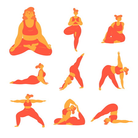 Illustration pour Body positive woman doing yoga poses. Slightly overweight girl doing different asana exercises for stretching, body and mental health. Healthy lifestyle for everybody concept. Plus  size model. Flat - image libre de droit