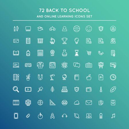 Illustration for Studying and back to school line icons set. Home office and e-learning. Stock vector - Royalty Free Image