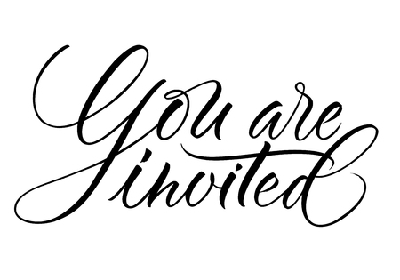 Illustration pour You Are Invited lettering. Handwritten modern calligraphy, brush painted letters. Vector illustration. Template for greeting card, poster, logo, badge, icon, banner tag - image libre de droit