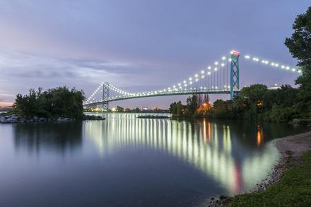 Ambassador bridge linking Windsor canada and Detroit usa at dusk