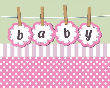 Illustration for Baby girl arrival announcement card - Royalty Free Image