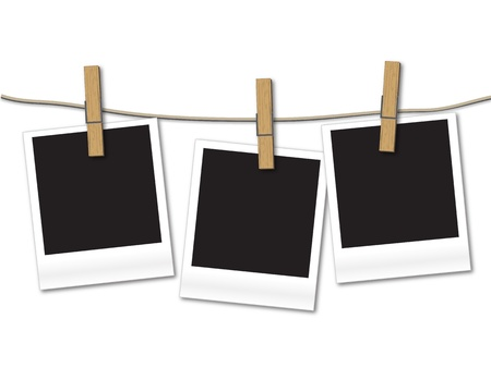 Blank photos hanging on rope のイラスト素材