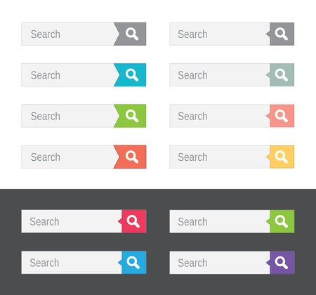 Set of search bars, flat web design elements