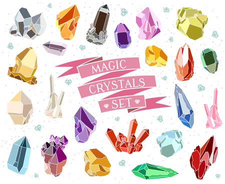 Illustration pour Crystals and stones Isolated Vector Set. Vector illustration - image libre de droit