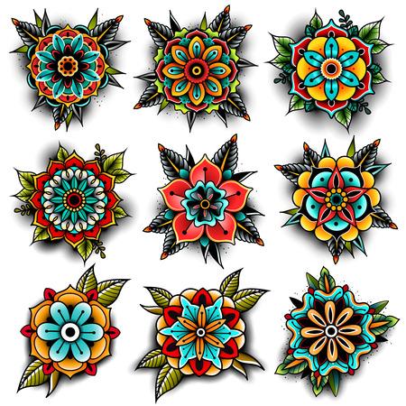 Ilustración de Old school tattoo flowers set - Imagen libre de derechos