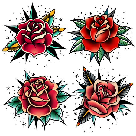 Illustration pour Set of four old school tattoo roses. - image libre de droit