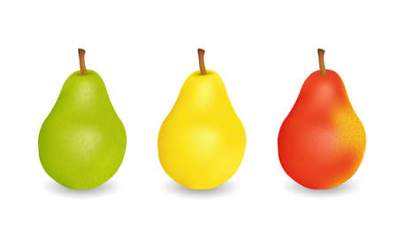Three delicious juicy pears  green, yellow and red