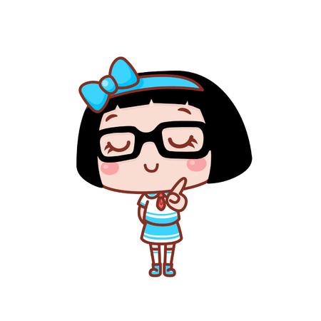 Cute cartoon girl feeling confident