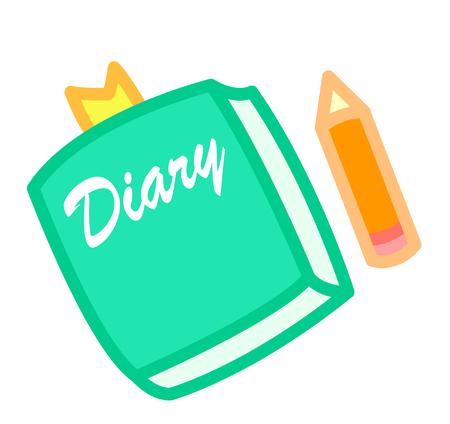Cartoon diary and pencil