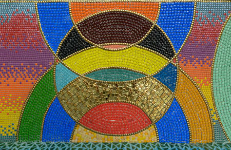 Photo for Mosaic background image With a multi-colored pattern Decorated in temples in Thailand - Royalty Free Image