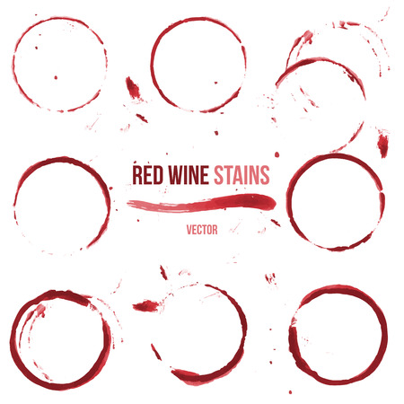 Red wine stain on white background. Vector set of 9 round glass or cup stains.