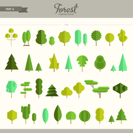 Illustration pour Forest constructor kit - part 5. Really big set of different trees. Beautiful and trendy set of flat elements. Very useful to create backgrounds and patterns - image libre de droit