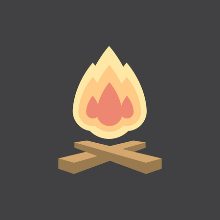 Bonfire vector icon. Simple flat illustration for your design