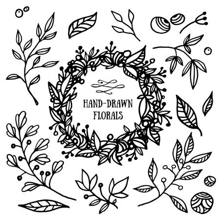Illustration pour Hand drawn set of floral elements and wreath. Beautiful florals for your design - image libre de droit